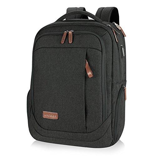 KROSER Laptop Rucksack Computer Rucksack 17,3 Zoll Tagesrucksack Wasserabweisende Laptoptasche mit USB Ladeanschluss für Business/Schule/Reisen/Frauen/Männer-Schwarz