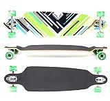 "MAXOfit Longboard ""Charisma Green"" | Drop Through/Drop Down Komplettboard | 101 x 25 cm | mit ABEC-11 Kugellager | Freeride Cruiser-Board"