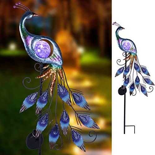 TERESA'S COLLECTIONS 35cm Metallpfau Solar Led Gartenfigur Gartenskulptur Gartendeko Feengarten für Für Garten, Terrasse und Balkon