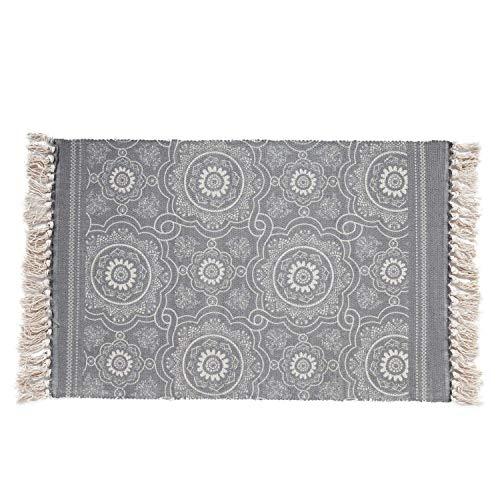 SHACOS Handgewebter Teppich mit Quasten Bedruckter Baumwollteppiche/Matte Waschbar Ideal für Eingangstür,Küche,Keller usw.(60 x 90 cm)