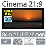 HiViLux Rahmen Leinwand Gain 1,0 Weiss Tuch aus Referenz Kinofolie/3D/4K/UHD/ALU Rahmen/Kein Glitzereffekt o.Hotspot (21:9 Bild:199x85cm 85' Rahmenstärke 9cm)