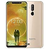OUKITEL C12 Android 8.1 Dual-SIM Handy ohne Vertrag - 6,18 Zoll Kerbenbildschirm Smartphone, MT6580 Quad Core 2GB + 16GB Gesichtserkennung dreifache Kamera 5MP+2MP+8MP Fingerabdrucksensor GPS - Gold