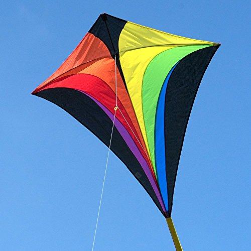 CIM Großer Kinderdrachen - Eddy XL Rainbow MUSTHAVE - Einleiner für Kinder ab 6 Jahren - Abmessung: 90x100cm - inkl. 80m Drachenschnur und Streifenschwänze