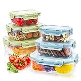 Frischhaltedosen, Haipei 6tlg Brotdosen Set Stapelbar, Klassifizierter Speicher, BPA-frei, Clip & Close, gute Dichtung Geeignet für Gefrierschrank, Spülmaschine, Grün und Blau