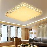 VINGO 60W Deckenleuchte Starlight Effekt Kristall Warmweiß LED Korridor Eckig Deckenbeleuchtung Schönes Badlampe 2700K-3000K, metall, 60w Warmweiß Eckig Kristall Rahmen