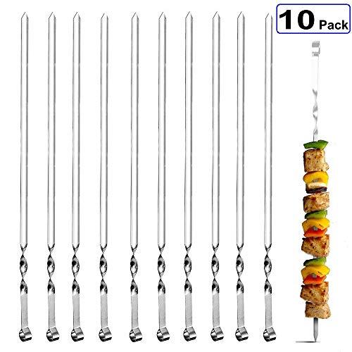 FANSIR Schaschlikspieße, Set aus 10 Edelstahl-Gartenspießen, flach, wiederverwendbar, für Grill, Cocktail, ShishKabob, Party-Essentials, 38 cm
