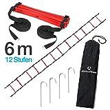 #DoYourFitness Koordinationsleiter/Fitnessleiter - Länge 4m 6m 8m - Trainingsleiter (ENGL Agility Ladder) BZW. Konditionsleiter für Beweglichkeitsübungen/Schnelligkeitstraining 6m rot/schwarz
