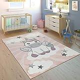 Paco Home Kinderteppich Kinderzimmer Mädchen Modern Einhorn Auf Wolken In Rosa Lila, Grösse:120x170 cm