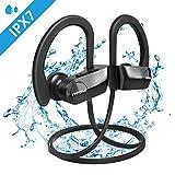 Mpow D7 Bluetooth Kopfhörer Sport, IPX7 Wasserdichte Sportkopfhörer, 10-12 Stunden Spielzeit/Bass+ Technologie/Bluetooth 4.1, In Ear Kopfhörer Kabellos mit Mikrofon für Laufen, Joggen usw