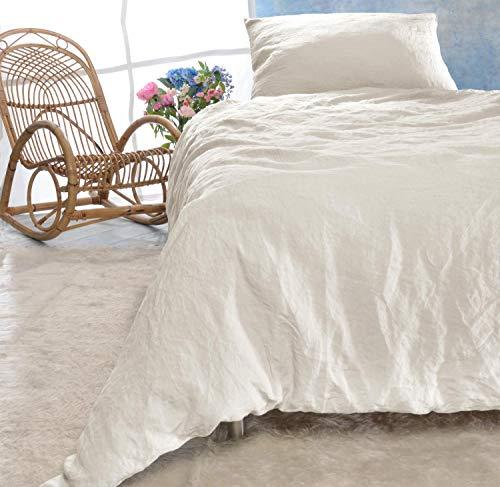 Leinen-Bettwäsche Set 135x200cm + 40x80cm Elfenbein-weiß