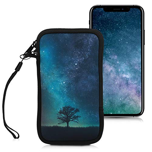 kwmobile Handytasche für Smartphones L - 6,5' - Neopren Handy Tasche Hülle Cover Case Schutzhülle - Galaxie Baum Wiese Design Blau Grau Schwarz - 16,2 x 8,3 cm Innenmaße
