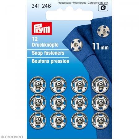PRYM 11mm Aufnäher Druckknöpfe, Messing, 12Stück silber