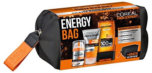 L'Oreal Men Expert Energy Bag Geschenkset, für Männer, gratis Kulturtasche, 24H Feuchtigkeitspflege (50 ml), Waschgel (150 ml) und Hydra Energy Duschgel (300 ml)