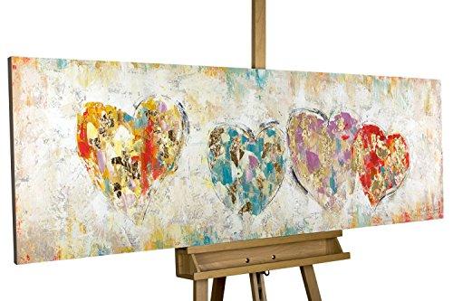 KunstLoft Gemälde 'Color My Heart' in 150x50cm | XXL Leinwandbild handgemalt | Bunte Herzen auf Beige | signiertes Wandbild-Unikat | Acrylgemälde auf Leinwand | Modernes Kunstbild | Sehr großes Acrylbild auf Keilrahmen