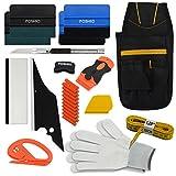 FOSHIO Autofolie Wrapping Werkzeug Kit für Auto Tönungsfolie Installation Mit Magnete Filz, Schaber Kuststoff,Rakel mit Filzkante, Cuttermesser,Folienrakel und Handschuhe, Werkzeugtasche