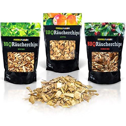 BBQ Räucherchips Mix für tolles Raucharoma beim Grillen - 100% natürliches Smoker-Holz | Ergiebige und sparsame wood chips (Apfel, Buche & Kirsche) für Stand- und Kugel-Grill sowie Smoker | 3 x 500g