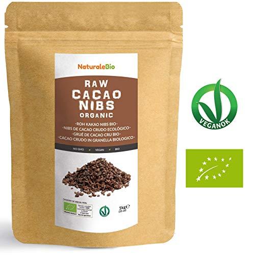 Roh Kakao Nibs Bio 1Kg | Organic Raw Cacao Nibs | 100 % Rohkost, natürlich und rein | Produziert in Peru aus der Theobroma Cocoa Pflanze | Superfood reich an Antioxidantien, Mineralien und Vitaminen.