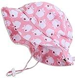 atmungsaktiver Sonnenhut für Kleinkinder (Mädchen) 50 UPF, verstellbar, mit Kinnriemen, faltbar (Mittel:6-30m, Schlapphut: Rosa Apfel)
