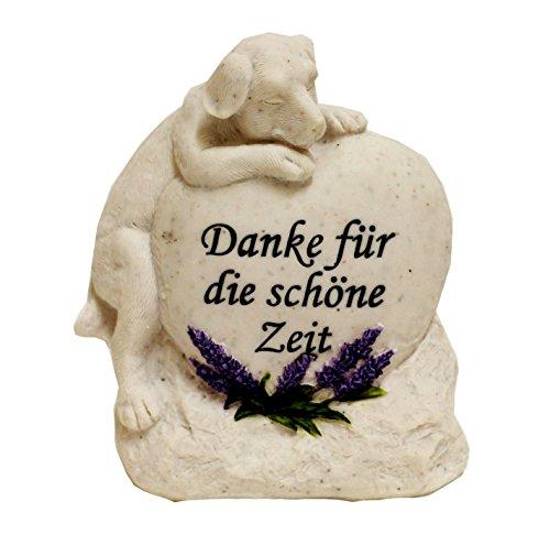Grabstein Katze Hund Tiergrabstein mit Spruch Polyresin Gedenkstein 'Danke...' (Hund)