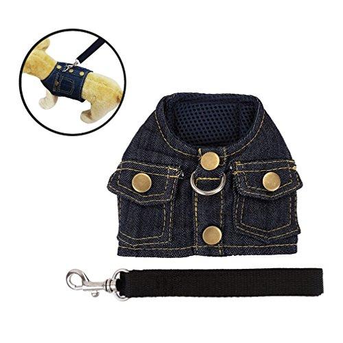 Mogoko Haustier Hund Verstellbar Jeans Harness Hundegeschirr Welpengeschirr Softgeschirr Brustgeschirr mit Leine Set für Kleine Hunde (M, Schwarz)