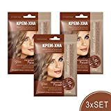 3xSET Henna Creme mit Klettenöl iranische Haarfarbe Haarkur Haare natürlich Naturkosmetik Tönungscreme gebrauchsfertig (Natürliches Dunkelblond)