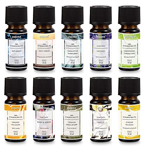 Pajoma Duftöl Set für Duftlampe, Diffuser, Aromatherapie, 10x10ml Made in Germany