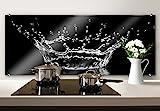 Spritzschutz Glasbild - Wassertropfen - Panorama - Küchenspritzschutz - mit abgerundeten Ecken - 100x40 cm mit Klemmbefestigungen - SP43462 - Wall-Art
