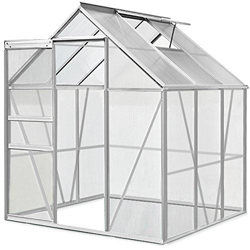 Deuba Aluminium Gewächshaus | 5,85m³ | 190x195cm | Treibhaus Gartenhaus Frühbeet Pflanzenhaus Aufzucht