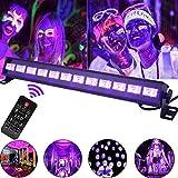 UV LED Beleuchtung, 36W 12LEDs UV LED Schwarzlicht Party Licht Lampe Strahler UV Lampe Fernbedienung DMX Steuerung Bühnenscheinwerfer Partylicht Effektlicht für Club Party Karneval Disco Bühne