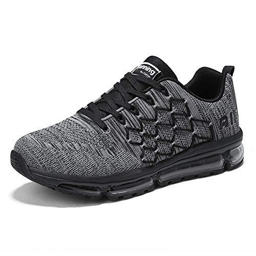 frysen Herren Damen Sportschuhe Laufschuhe mit Luftpolster Turnschuhe Profilsohle Sneakers Leichte Schuhe 1643 Black Gray 42