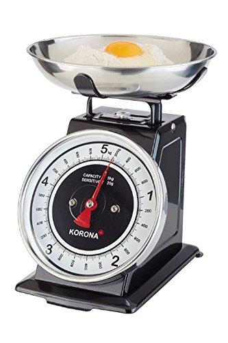 Korona-Küchenwaage Tom 76150 I Mechanisch I 5kg Tragkraft I Retrodesign | Edelstahl-Schwarz