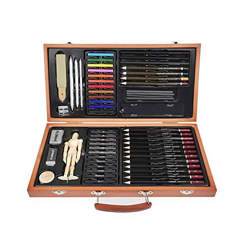 FLOWood 58 Stück Bleistift Zeichnen Set, Skizzierstifte Set und Zeichnen Professionelle Art Set mit Hochwertiger Malkoffer, Zeichnen für Anfänger, Künstler, Kinder