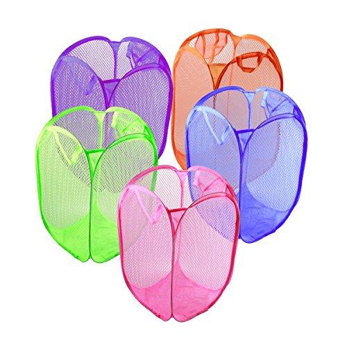 ZhengYue 5 PCS von-Netz Staubsaugerbeutel Wäschekorb Wäschekorb, faltbar, Maschen Pop Up ideal für das Tri Linge Aufbewahrungsschuppen Wäschesack Spielzeug Organizer