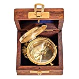 Kompass mit Holzbox Maritim Schiff Dekoration Navigation Messing Antik-Stil