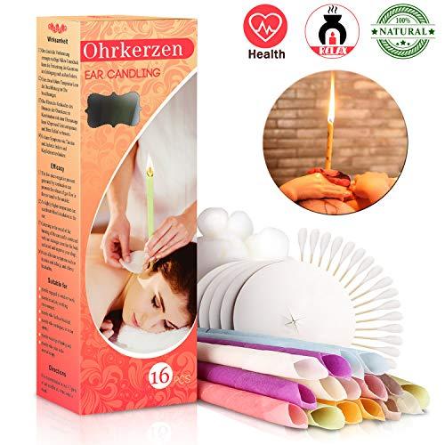 Ohrenkerzen Ohrkerzen - Ohrenkerzen zur Reinigung Ohrenreiniger Ohrenschmalz Entferner Ear Candle - Natürliches Bienenwachs Kerze Bio Pflanzenmaterial mit 5* Schutzscheiben, 16 Stück (8 Farben)MEHRWEG