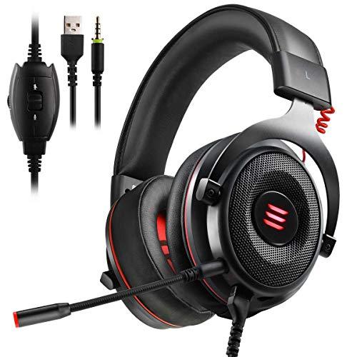 EKSA Gaming Headset PS4/XBox One, Virtual 7.1 & 3,5mm Surround Sound 2 in1 Kabelgebundenes Over-Ear Gaming Kopfhörer mit Abnehmbares Mikrofon, LED-Licht für Laptop, PS4, Xbox one, PC, Smartphone