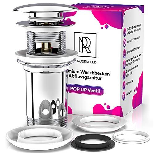 Premium Waschbecken Abflussgarnitur mit Überlauf - für Waschbecken & Waschtisch, Universal Chrom Pop Up Ventil, Solide Ablaufgarnitur aus Messing - mit Anleitung & 4 Ersatzdichtungen