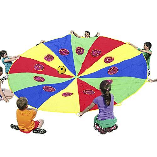 Schwungtuch Fallschirm mit 12 Griffen und Mesh-Löchern für Kinder, Kinder Mehrfarbig Spielen Fallschirm 12 〞Zelt Indoor & Outdoor-Spiele Aktivitäten Spielzeug