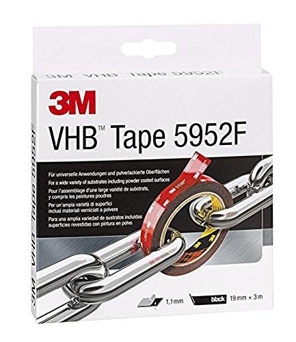 3M VHB Hochleistungsklebeband schwarz / Extra starkes doppelseitiges Klebeband für schwierig zu klebende Oberflächen im Innen- und Außenbereich / 1 Rolle (3 m x 19 x 1,1 mm)