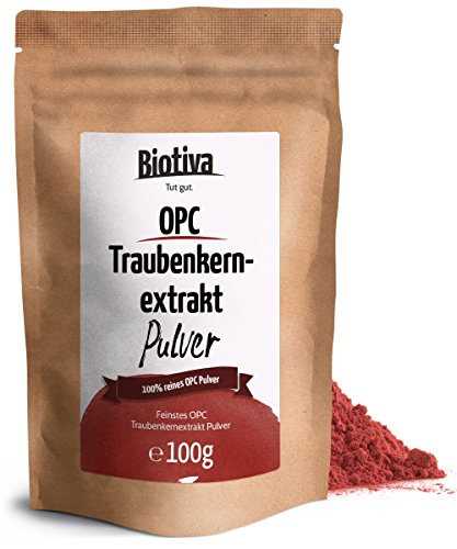 OPC Traubenkernextrakt Pulver (100g) - 95% OPC - hochdosierte Premium Qualität - ohne Zusatzstoffe - aus reifen, roten Weintrauben - schonend getrocknet - kontrolliert und abgefüllt in Deutschland