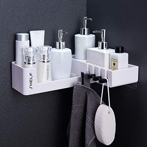 Ruicer Eckablage Duschkorb - Drehbares Duschregal Selbstklebende Duschablage Befestigen Ohne Bohren mit 4 Haken für Badezimmer und Küche