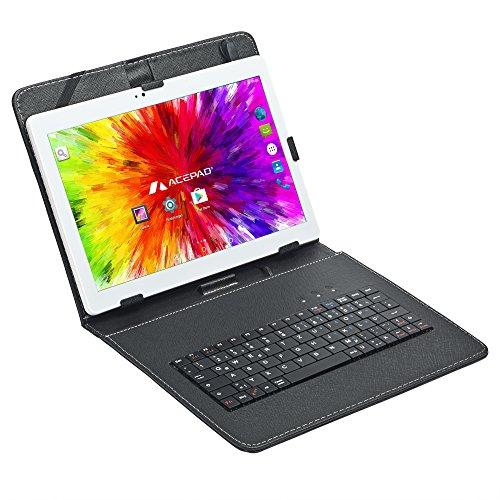 ACEPAD A121 (10.1') 3G Tablet PC, 2GB RAM, 64GB Speicher, Dual-SIM, Android 7.0, IPS HD 1280x800, Quad Core CPU, WIFI/WLAN/Bluetooth, USB/SD (Weiß mit Tastaturtasche)