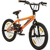 deTOX 20 Zoll BMX Big Shaggy Spoked 8 verschiedene Farben zur Auswahl + 4 Pegs inkl, Farbe:Orange/Schwarz