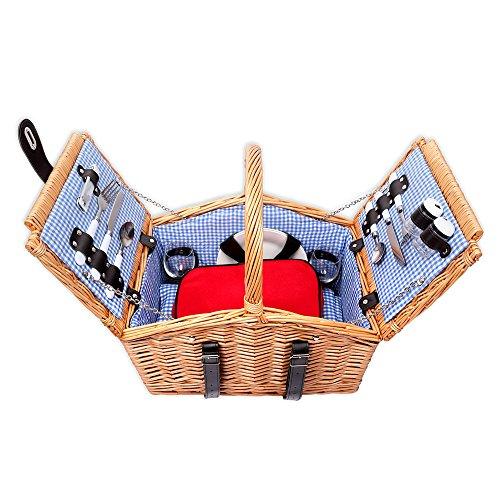 Schramm Picknickkorb aus Weidenholz mit Henkel für 2 Personen Hochwertiger Weidenkorb mit Picknickdecke Picknickset Innen blau kariert