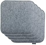 Brandsseller Sitzkissen Filz Eckig Stuhlkissen Sitzauflage Gepolstert - 35 x 35 x 2 cm - 4er Vorteilspack - Hellgrau
