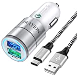 Auto Ladegerät, IWAVION Quick Charge 3.0+2.4A 30W KFZ Ladegerät Adapter Dual USB Auto Ladeadapter mit 1M Nylon USB Type C Ladekabel für Samsung Galaxy S10 S9 S8,Note9/8,LG G6 V30,Huawei P20/P10/Mate10