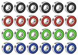 24 Stück 608 RS Kugellager, Durable Multi-Use-Gummi Sealed Rillenkugellager ABEC-9 für Skateboard, Longboard, Inline Skates, Fidget Spinner(Mehrfarbig)