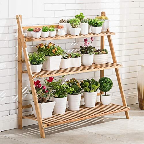 medla Blumentreppe Holz, Blumenständer für innen draußen, 3-stufig, Blumentreppe Klappbar, Blumenleiter Bambus 100 x 38 x 97cm, Braun