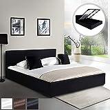 MIADOMODO Kunstlederbett (180 x 200 cm) | mit integriertem Lattenrost und Bettkasten | Polsterbett, Doppelbett, Bettgestell, Bettrahmen | in Schwarz | in Schwarz