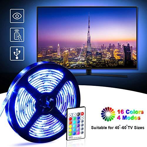 LED TV Hintergrundbeleuchtung OMERIL 2.2M USB LED Strip RGBW LED Fernseher Beleuchtung mit 24-Key Fernbedienung, Hintergrundbeleuchtung Fernseher für 40-60 Zoll HDTV, TV-Bildschirm, PC, Spiegel usw.